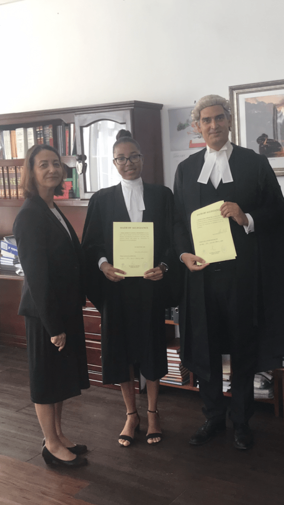 Swearing in Ceremony before the Chief Justice. Left to right – Chief Justice Twomey, Nissa Thompson, and Steven Powles QC