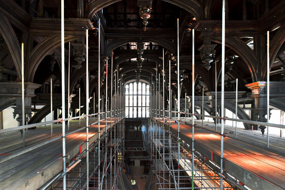 The Hall Roof in Scaffolding