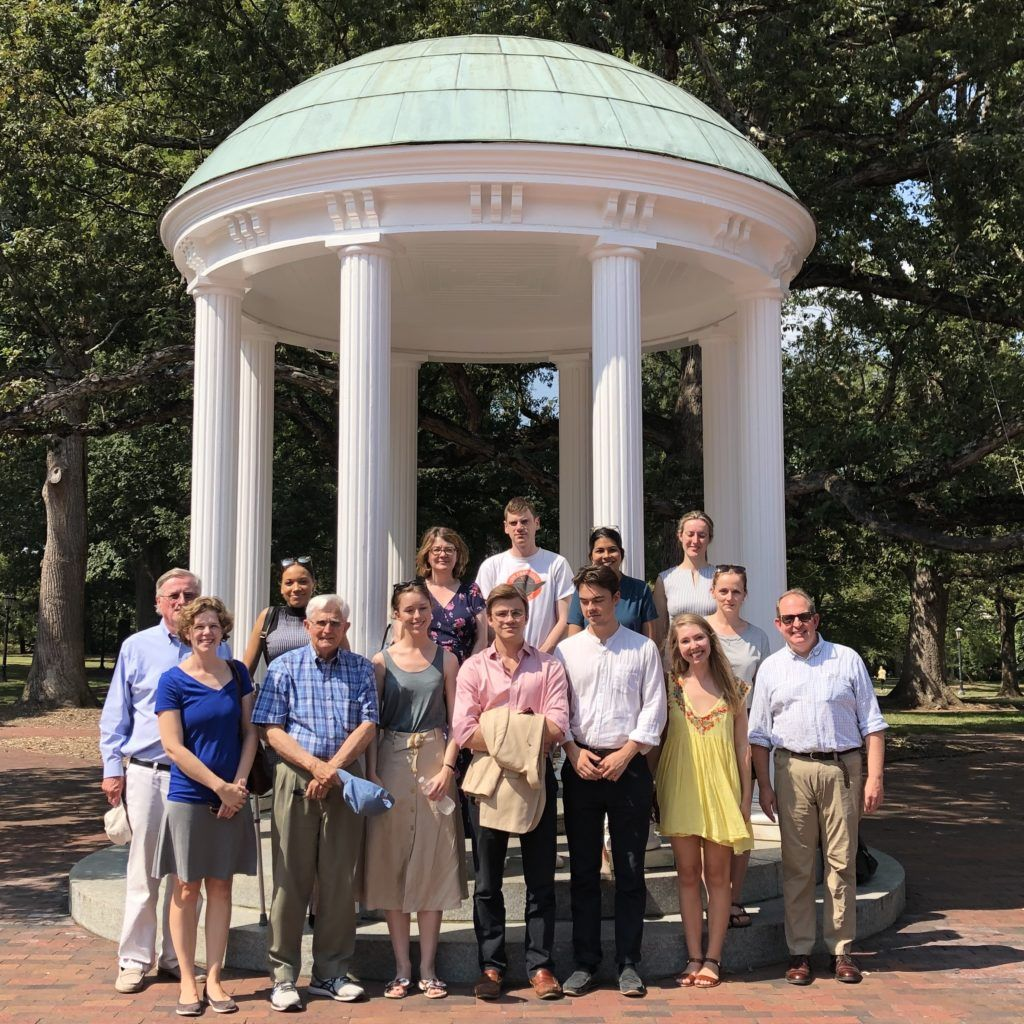 The group at the Caldwell Monument, commemorating Joseph Caldwell, President of UNC in the early 19th Century